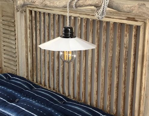 Lampe suspension blanche métal atelier