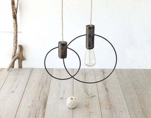 Suspension duo de cercles métal