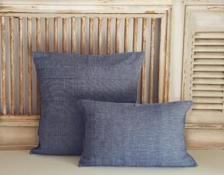 Housses coussins fils bleus blancs Tensira K.191