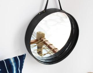 Miroir rond tamis décoration murale noir