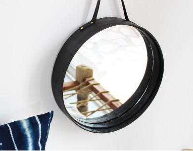 Miroir rond tamis déco noir