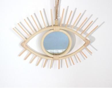 Miroir rotin œil déco bohème