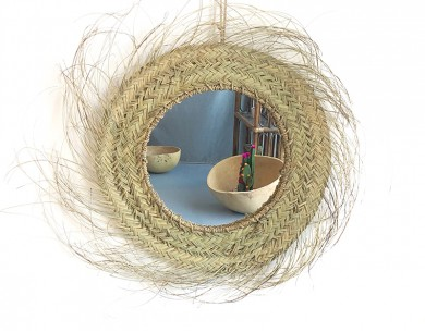 Miroir artisanal rond décoration naturelle