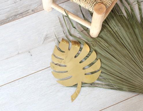 Monstera décoration dorée murale