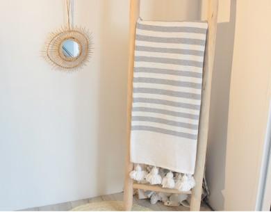 Plaid coton à pompons rayé blanc gris