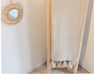 Plaid coton à pompons beiges