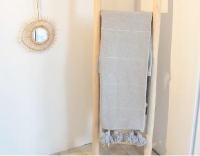 Paid coton à pompons gris