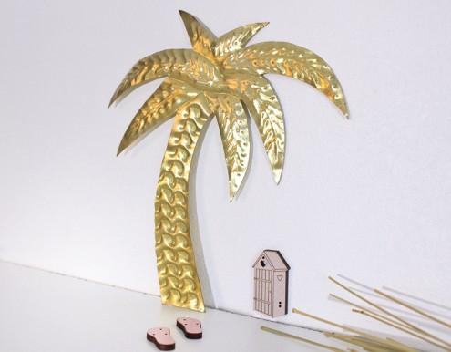 Palmier déco doré martelé