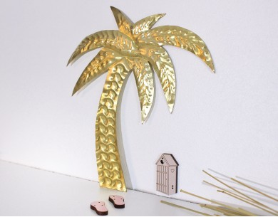 Palmier décoration murale doré