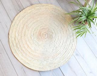 Tapis rond décoration naturel palmier