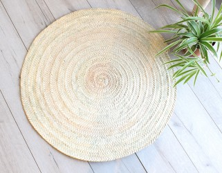 Tapis rond naturel tressé feuille de palmier