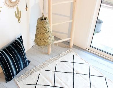 Tapis artisanal Kilim beige laine