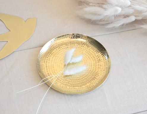 Coupelle ronde laiton dorée martelée