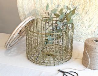 Boîtes rondes bambou métal dorée Madam Stoltz