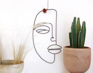Décoration murale visage fil métal - Madam Stoltz