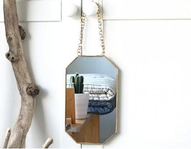Miroir à suspendre doré Madam Stoltz
